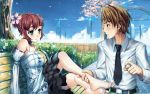 alternate_hairstyle amputee barefoot bench blush brown_hair cherry_blossoms choker detached_sleeves doomfest dress feet flower good_end green_eyes hair_flower hair_ornament hair_up highres holding_another's_foot jewelry katawa_shoujo nakai_hisao no_arms proposal ring sitting tezuka_rin wallpaper