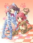 ahoge bow brown_eyes brown_hair catgirl dress fang gloves long_hair nekomimi noizi_itou oversized_paw_gloves pink_hair red_eyes short_hair stripes thigh_highs tiger_striped twintails