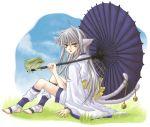amber_eyes bare_feet bell catgirl frog grey_hair kimono knee_highs long_hair nekomata nekomimi silver_hair umbrella white_hair