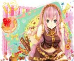 blue_eyes candy checkerboard_cookie cookie food food_as_clothes food_themed_clothes fruit headphones long_hair megurine_luka midriff navel pink_hair smile strawberry thighhighs vocaloid