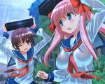 blue_eyes haramura_nodoka miyanaga_saki pink_hair saki seifuku