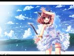 bracelet cat_ears cat_tail catgirl cloud collar dress etogami_kazuya fang highres jewelry ocean original rain red_eyes ribbon short_hair tail thigh_strap wallpaper wet wet_clothes