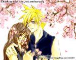 1boy 1girl blonde_hair blue_eyes brown_eyes brown_hair cherry_blossoms cloud_strife cloud_tifa final_fantasy final_fantasy_vii flower hug lowres smile tifa_lockhart