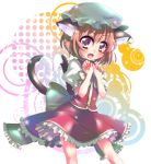 brown_hair cat_ears cat_tail chen earrings hat heart heart_tail jewelry multiple_tails nukomiya short_hair tail touhou