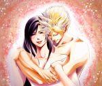 1boy 1girl blonde_hair brown_hair cloud_strife cloud_tifa final_fantasy final_fantasy_vii hug hug_from_behind looking_at_viewer nude red_eyes smile tifa_lockhart
