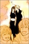 2boys 2girls :d :o ^_^ character_request cloud_strife cloud_tifa family final_fantasy final_fantasy_vii heart hug lowres midriff smile tifa_lockhart