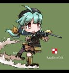 >:o 1girl :o ahoge aiming aqua_hair bangs belt beret blush buttons camouflage chibi clenched_hand fighting_stance floating_hair full_body green_background hair_ribbon hat highres letterboxed long_hair looking_to_the_side low-tied_long_hair mecha_musume milihime_taisen military military_uniform orlik_(milihime_taisen) outstretched_arm parted_bangs payot petticoat pink_eyes pleated_skirt poland polish_air_force_checkerboard ribbon signature simple_background skirt sleeves_past_wrists small_breasts tao_(kadoya) tks_tankette turret uniform very_long_hair weapon