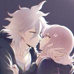 almost_kiss apfl0515 blue_eyes danganronpa green_jacket hair_ornament jacket komaeda_nagito nanami_chiaki pink_eyes pink_hair super_danganronpa_2 white_hair