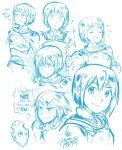 1girl armor breastplate cape collage ddhew english expressions fantasy full_armor mahou_shoujo_madoka_magica miki_sayaka sketch solo