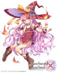 1girl fire hat ishii666 long_hair looking_at_viewer magic pink_hair small_breasts smile solo very_long_hair witch witch_hat yellow_eyes