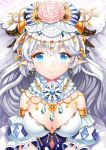 1girl :> armlet blue_eyes breasts detached_sleeves earrings flower headdress jewelry long_hair looking_at_viewer original pointy_ears puchipu puffy_sleeves silver_hair smile solo sparkle upper_body