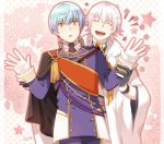 2boys ^_^ black_gloves blue_hair cape closed_eyes double-breasted gloves ichigo_hitofuri japanese_clothes male_focus military military_uniform mizuhara_aki multiple_boys necktie open_mouth orange_eyes partly_fingerless_gloves short_hair silver_hair star touken_ranbu tsurumaru_kuninaga uniform white_gloves
