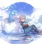 1boy absurdres aldnoah.zero altaria blush boots bubble clouds crossover gloves grey_hair highres military military_uniform pokemon pokemon_(creature) silver_hair sky slaine_troyard sleeping swablu toyo_(s9654431) uniform water