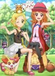 2girls adjusting_clothes adjusting_hat aikatsu! armpits backpack bag bike_shorts black_legwear blonde_hair blue_ribbon blue_sky blush boots clouds coat dedenne eureka_(pokemon) eureka_(pokemon)_(cosplay) fennekin forest genesect green_eyes grey_skirt handbag heart highres hikami_sumire long_hair looking_at_viewer multiple_girls nature older oozora_akari open_clothes open_coat open_mouth pokemoa pokemon pokemon_(anime) pokemon_(creature) ribbon serena_(pokemon) serena_(pokemon)_(cosplay) shinjou_hinaki short_hair sitting skirt skirt_set sky sleeveless smile thigh-highs violet_eyes winking
