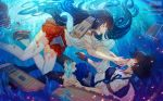 2girls akagi_(kantai_collection) blood brown_hair japanese_clothes kaga_(kantai_collection) kantai_collection long_hair multiple_girls muneate short_hair side_ponytail sinking thigh-highs torn_clothes torn_thighhighs underwater usanekorin