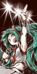 1girl armpits bare_shoulders cowboy_shot deel_(rkeg) green_eyes green_hair hatsune_miku headset highres index_finger_raised long_hair microphone midriff necktie open_mouth pointing pointing_up sideways_mouth singing sleeveless small_breasts solo stage_lights very_long_hair vocaloid wristband
