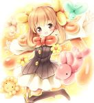 1girl :d aikei_ake balloon balloon_animal blonde_hair blush boots bowtie brown_eyes open_mouth original outstretched_arms skirt smile solo spread_arms thigh-highs thigh_boots