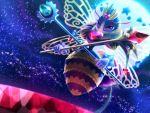 1girl backlighting bee bellhenge crown disembodied_limb eyebrows full_moon highres insect_wings kirby_(series) moon queen_sectonia slender_waist solo violet_eyes wings