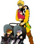 5boys baby baby_carrier beanie black_hair blonde_hair dio_brando donatello_versace drooling family giorno_giovanna hat jojo_no_kimyou_na_bouken li_sakura multicolored_hair multiple_boys rykiel sleeping sling stroller sunglasses two-tone_hair ungaro white_hair younger