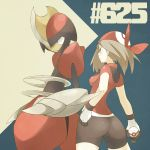 1girl ass bike_shorts bisharp gloves haruka_(pokemon) holding holding_poke_ball poke_ball pokemon pokemon_(creature) pokemon_(game) pokemon_rse premier_ball solo souji