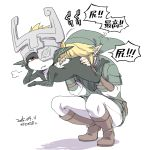 1boy 1girl ass ass_grab blonde_hair boots floating hat helmet imp kanya_pyi knee_boots link midna pointy_ears red_eyes the_legend_of_zelda tunic twilight_princess