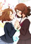 2girls brown_eyes brown_hair closed_eyes company_connection crossover fox-zgmf hibike!_euphonium highres hirasawa_yui holding_hands k-on! multiple_girls oumae_kumiko school_uniform serafuku short_hair trait_connection