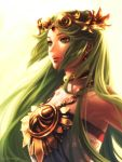 1girl backlighting bare_shoulders bellhenge choker green_eyes green_hair highres jewelry kid_icarus kid_icarus_uprising lips long_hair necklace nose palutena smile solo tiara toga upper_body very_long_hair