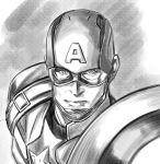 1boy captain_america helmet marvel monochrome ohara_hiroki shield solo steve_rogers superhero