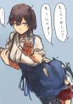 brown_hair kaga_(kantai_collection) kantai_collection multiple_girls side_ponytail skirt translation_request under_skirt younger zakiza03 zuikaku_(kantai_collection)
