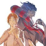 2boys blue_hair caster_(fate/zero) cat cowl fate/zero fate_(series) kitten leash multiple_boys narrator_(nobody) one_eye_closed orange_hair ribbon uryuu_ryuunosuke