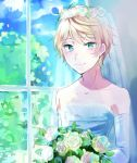 1boy aldnoah.zero aqua_eyes blonde_hair bouquet bridal_veil bride flower green_eyes otoko_no_ko silver_hair slaine_troyard smile solo veil window