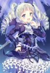 aikatsu! blue_eyes blush gothic green_hair long_hair smile tails toudou_yurika twin