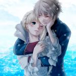 1boy 1girl aldnoah.zero asseylum_vers_allusia blonde_hair blue_eyes blush hug hug_from_behind nana_(t-a-f) silver_hair slaine_troyard tears