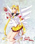 1girl :d asa_(seito926) bishoujo_senshi_sailor_moon blonde_hair blue_eyes boots choker crescent double_bun earrings elbow_gloves eternal_sailor_moon eternal_tiare facial_mark forehead_mark full_body gloves hair_ornament hairclip heart high_heels highres jewelry knee_boots kneeling looking_at_viewer miniskirt multicolored_skirt open_mouth reflection reflective_floor sailor_moon skirt smile star star_earrings tsukino_usagi twintails wand white_boots white_gloves wings