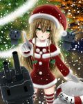 1girl amagami_(makise_tsubaki) blonde_hair character_name christmas_tree green_eyes hat kantai_collection long_hair looking_at_viewer open_mouth pointing pointing_up rensouhou-chan santa_costume santa_hat shimakaze_(kantai_collection) snowing striped striped_legwear thigh-highs zettai_ryouiki