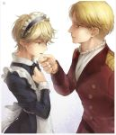2boys aldnoah.zero alternate_costume blonde_hair cruhteo enmaided green_eyes highres maid multiple_boys otoko_no_ko short_hair slaine_troyard