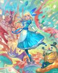 :d alice_(wonderland) alice_in_wonderland bangs blonde_hair blue_bow blue_dress blue_legwear blue_shoes blue_sky bow breathing_fire buttons cane card castle cat checkered cheshire_cat closed_eyes clouds coattails crown dirigible dress drinking facial_hair fantasy fire flipped_hair frilled_dress frills from_below green_hat green_jacket green_shirt grin hair_bow hat heart high_collar highres holding holding_bottle jabberwock jacket lack long_hair long_sleeves looking_away mad_hatter march_hare mary_janes mushroom mustache necktie no_nose open_hand open_mouth playing_card pocket_watch polearm puffy_sleeves queen_of_hearts rabbit red_eyes red_nose shirt shoes sitting sky smile smoking_pipe spear staff table top_hat vertical_stripes watch weapon white_rabbit wind yellow_eyes yellow_jacket