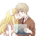 1boy 1girl aldnoah.zero asseylum_vers_allusia blonde_hair blue_eyes blush cheek_kiss kiss nana_(t-a-f) silver_hair slaine_troyard younger