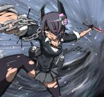battle blood breasts broken broken_sword broken_weapon chain cleavage eyepatch foreshortening headgear injury kantai_collection mecha_musume necktie puge purple_hair reverse_grip school_uniform short_hair skirt sleeves_pushed_up solo speed_lines sword tenryuu_(kantai_collection) thigh-highs torn_clothes torn_thighhighs weapon yellow_eyes