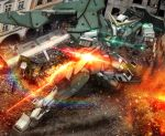 debris dual_wielding dynames excavator fire glowing glowing_eyes green_eyes gun gundam gundam_00 hiropon_(tasogare_no_puu) mecha no_humans photo_background solo weapon