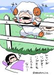 1girl animal_ears blush_stickers climbing counting cyclops dreaming fence hitomi_(hitomi_sensei_no_hokenshitsu) hitomi_sensei_no_hokenshitsu horns one-eyed shake-o sheep sheep_ears sheep_horns sheep_tail sketch sleeping sweatdrop translation_request trembling