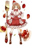 >:< 1girl :< bangs blonde_hair blunt_bangs boots bow cross-laced_footwear crown detached_sleeves dress drill_hair food food_themed_clothes fork frilled_dress frills fruit full_body gem green_eyes hand_on_hip highres holding_fork knee_boots lace-up_boots leaf looking_at_viewer massuru neck_ribbon original pale_skin pastry ribbon simple_background strawberry twin_drills white_background