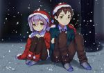 1boy 1girl acidear brown_hair hat kyon nagato_yuki nagato_yuki-chan_no_shoushitsu purple_hair santa_costume santa_hat school_uniform short_hair snow suzumiya_haruhi_no_shoushitsu suzumiya_haruhi_no_yuuutsu yellow_eyes