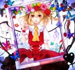 1girl bat_wings blonde_hair blood butterfly card flandre_scarlet flower hair_flower hair_ornament hat highres playing_card red_eyes renkarua short_hair side_ponytail solo tears touhou wings