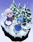 2girls :d :o \||/ akuto apple bag blue_eyes blue_hair blush bobby_socks bow cirno dress food fruit grocery_bag hair_bow hat juliet_sleeves large_bow layered_dress letty_whiterock long_sleeves mary_janes multiple_girls open_mouth pine_tree popsicle puffy_sleeves purple_hair scarf shoes shopping_bag short_hair smile snow snowing socks tareme touhou tree violet_eyes watermelon_bar