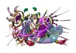 1girl adachi_yousuke barefoot flower full_body headpiece japanese_clothes katana lily_(flower) long_hair magatama official_art ponytail purple_hair puzzle_&_dragons red_eyes simple_background solo sword weapon white_background yomi_(p&d)