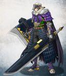 1boy armor belt buckle cape closed_eyes full_armor gauntlets huge_weapon knight monster_hunter monster_hunter_4 shield shouzi solo sword weapon yian_garuga_(armor)