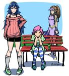 3girls akairiot bike_shorts blue_eyes blue_hair breasts brown_eyes brown_hair casual cleavage contemporary doubutsu_no_mori fire_emblem fire_emblem:_kakusei full_body hairband long_hair looking_at_viewer lucina multiple_girls off-shoulder_sweater park_bench payot pigeon-toed pink_hair pointy_ears princess_zelda shoes small_breasts smile sneakers socks standing striped striped_legwear super_smash_bros. twilight_princess villager_(doubutsu_no_mori) visor_cap wristband