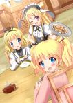 3girls :d ;d alice_cartelet bangs blonde_hair blue_eyes blunt_bangs blush bow cafe checkerboard_cookie color_connection company_connection cookie crossover cup food gochuumon_wa_usagi_desu_ka? hair_bow hair_bun hair_color_connection hair_ornament hair_stick hairband hairpin highres kin-iro_mosaic kirima_sharo kujou_karen long_hair looking_at_viewer looking_back manga_time_kirara multiple_girls one_eye_closed open_mouth saucer short_hair smile sparkle tea teacup teapot tile_floor tiles tray twintails uniform violet_eyes wooden_chair wooden_table zenon_(for_achieve)