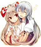 2girls blue_hair bow closed_eyes dress fujiwara_no_mokou hair_bow hair_ribbon heart hug kamishirasawa_keine long_hair multiple_girls no_hat open_mouth red_eyes ribbon silver_hair smile tama_(soon32281) torn_clothes torn_sleeves touhou urban_legend_in_limbo